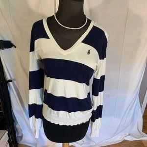 Ralph Lauren Nautical stripe v neck sweater. L